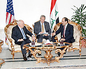 Baghdad, Iraq - March 17, 2008 -- United States Vice President Dick Cheney meets with Iraqi Prime Minister, Nouri Al-Maliki (far right) during a visit to Iraq.  U.S. Vice President Dick Cheney, his wife Lynne and daughter Liz visited key Iraqi officials and U.S. leadership as part of a Middle East tour to enhance relations with key partners in the region.  <br /> Mandatory Credit: Denny C. Cantrell - DoD via CNP