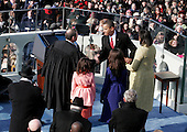 Washington, DC - January 20, 2009 -- United States President Barack Obama Shakes hands with United States Chief Justice John Roberts after taking the oath of office as the 44th President of the United States in Washington, DC, USA, 20 January 2009. Obama defeated Republican candidate John McCain on Election Day 04 November 2008 to become the next U.S. President..Credit: Dexter Powell - CNP