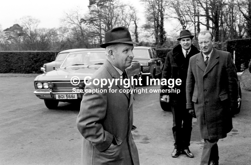 Brian Faulkner Ulster Unionist MP arriving Stormont Castle for leadership crisis cabinet meeting. May 1969. 19690500246<br />