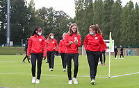 Essevee's Esther Buabadi (left),  Essevee's Sheryl Merchiers (middle) and Essevee's Tine Lemmens (17) inspect the pitch before a female soccer game between FC Femina White Star Woluwe and Dames Zulte Waregem  on the first matchday of the 2020 - 2021 season of Belgian Women's SuperLeague , Friday 28 of August 2020  in Sint Lambrechts Woluwe , Belgium . PHOTO SPORTPIX.BE | SPP | SEVIL OKTEM