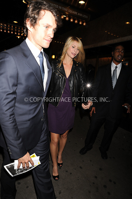 WWW.ACEPIXS.COM . . . . .  ....October 22 2009, New York City....Hugh Dancy and Claire Danes outside the American Airlines Theatre following the opening night performance of 'After Miss Julie' on October 22 2009 in New York City....Please byline: AJ Sokalner - ACEPIXS.COM..... *** ***..Ace Pictures, Inc:  ..tel: (212) 243 8787..e-mail: info@acepixs.com..web: http://www.acepixs.com