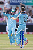 All smiles as Eoin Morgan (England) celebrates with wicket taker Mark Wood (England) during England vs New Zealand, ICC World Cup Cricket at The Riverside Ground on 3rd July 2019