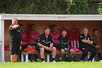 Jimmy Mcfarlane manager of Hornchurch and Colin McBride points the finger during AFC Hornchurch vs Soham Town Rangers, Bostik League Division 1 North Football at Hornchurch Stadium on 12th August 2017