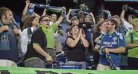 Seattle Sounders fans celebrate goal. The New England Revolution defeated the Seattle Sounders FC, 3-1, at Gillette Stadium on September 4, 2010.