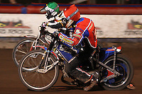 Heat 15: Andreas Jonsson (red) and Hans Andersen (green) - Lakeside Hammers vs Coventry Bees - Craven Shield Final 1st Leg at The Arena Essex Raceway, Lakeside - 16/10/08 - MANDATORY CREDIT: Rob Newell/TGSPHOTO