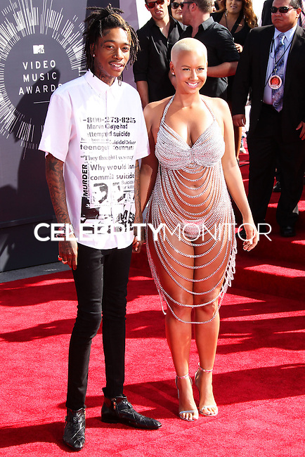LOS ANGELES, CA, USA - AUGUST 24: Wiz Khalifa, Amber Rose at the 2014 MTV Video Music Awards held at The Forum on August 24, 2014 in the Los Angeles, California, United States. (Photo by Xavier Collin/Celebrity Monitor)
