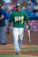 Lynchburg outfielder Nyjer Morgan (7) heads back to the dugout after striking out versus Winston-Salem at Ernie Shore Field in Winston-Salem, NC, Saturday, June 3, 2006.  Winston-Salem defeated Lynchburg 3-2.