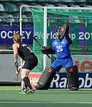 The Hague, Netherlands, June 15: Devon Manchester #20 of New Zealand makes a save during the field hockey placement match (Men - Place 7th/8th) between Spain and the Black Sticks of New Zealand on June 15, 2014 during the World Cup 2014 at Kyocera Stadium in The Hague, Netherlands.  Final score after full time 1-1 (0-1). The Black Sticks of New Zealand win the shoot-out 1-4.  (Photo by Dirk Markgraf / www.265-images.com) *** Local caption ***