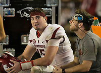 Hawgs Illustrated/BEN GOFF <br /> Cole Kelley (left), Arkansas backup quarterback and Austin Allen, Arkansas' starting quarterback who is sitting out with an injury, talk as the defense takes on Alabama in the fourth quarter Saturday, Oct. 14, 2017, at Bryant-Denny Stadium in Tuscaloosa, Ala.