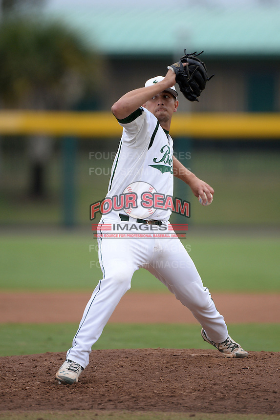 South Florida Bulls pitcher Lawrence Pardo (42) during a game against the Florida State Seminoles on March 5, 2014 at Red McEwen Field in Tampa, Florida.  Florida State defeated South Florida 4-1.  (Mike Janes/Four Seam Images)