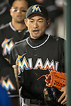 Ichiro Suzuki (Marlins),<br /> MAY 29, 2015 - MLB :<br /> Ichiro Suzuki of the Miami Marlins in the dugout during the Major League Baseball game against the New York Mets at Citi Field in Flushing, New York, United States. (Photo by Thomas Anderson/AFLO) (JAPANESE NEWSPAPER OUT)