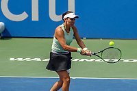 Washington, DC - August 4, 2019:  Jessica Pegula (USA) returns a shot during the Citi Open WTA Singles final at William H.G. FitzGerald Tennis Center in Washington, DC  August 4, 2019.  (Photo by Elliott Brown/Media Images International)
