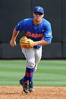 Florida Gators shortstop Nolan Fontana #4 during a game against the Tennessee Volunteers at Lindsey Nelson Stadium, Knoxville, Tennessee April 14, 2012. The Volunteers won the game 5-4  (Tony Farlow/Four Seam Images)..