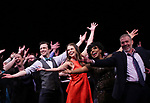 Harriet Harris, Gavin Creel, Sutton Foster, Sheryl Lee Ralph, Marc Kudisch during the curtain Call bows for the Actors Fund's 15th Anniversary Reunion Concert of 'Thoroughly Modern Millie' on February 18, 2018 at the Minskoff Theatre in New York City.