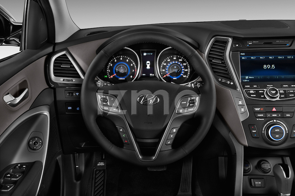 Steering wheel view of a 2013 Hyundai Santa Fe Sport