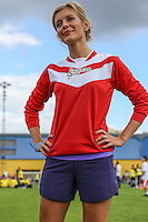London, UK on Sunday 31st August, 2014. Rachael Riley during the Soccer Six charity celebrity football tournament at Mile End Stadium, London.