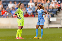 Bridgeview, IL - Saturday June 18, 2016: Alyssa Naeher, Casey Short during a regular season National Women's Soccer League (NWSL) match between the Chicago Red Stars and the Boston Breakers at Toyota Park.