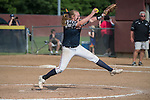 30 MAY 2016: Kelsie Batten (12) of University of Texas-Tyler, tournament MVP,  pitches during the final innings of The Division III Women's Softball Championship held at the James I Moyer Sports Complex in Salem, VA.  University of Texas-Tyler defeated Messiah College 7-0 for the national title. Don Petersen/NCAA Photos