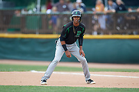 Dayton Dragons second baseman Jose Garcia (15) leads off first base during a game against the Beloit Snappers on July 22, 2018 at Pohlman Field in Beloit, Wisconsin.  Dayton defeated Beloit 2-1.  (Mike Janes/Four Seam Images)