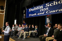 Students from Dublin School watch as former senator Rick Santorum speaks at a town hall meeting at Dublin School in Dublin, New Hampshire, on Jan. 6, 2012.  Santorum is seeking the 2012 GOP Republican presidential nomination.  The students are members of a club that worked to invite candidates to visit the school.