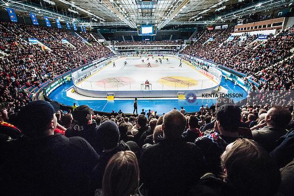 Stockholm 2014-03-27 Ishockey Kvalserien Djurg&aring;rdens IF - R&ouml;gle BK :  <br /> Vy &ouml;ver Hovet fr&aring;n l&auml;ktaren<br /> (Foto: Kenta J&ouml;nsson) Nyckelord:  DIF Djurg&aring;rden R&ouml;gle RBK Hovet supporter fans publik supporters inomhus interi&ouml;r interior