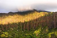 "An aerial view at dawn of the Ko'olau mountain range in Haiku valley from the Haiku Stairs (""Stairway to Heaven"") hiking trail in Kaneohe, O'ahu"