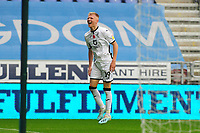 Sam Surridge of Swansea City celebrates scoring his side's second goal during the Sky Bet Championship match between Wigan Athletic and Swansea City at The DW Stadium in Wigan, England, UK. Saturday 2 November 2019