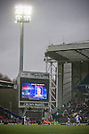 The electronic scoreboard announces two-goal midfielder Morten Gamst Pedersen as the man-of-the-match near the end of Blackburn Rovers match against Aston Villa in a Barclays Premier League match at Ewood Park. Blackburn won the match by two goals to nil watched by a crowd of 21,848. It was Rovers' first match under the ownership of Indian company Venky's.