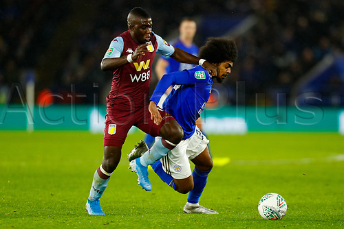 8th January 2020; King Power Stadium, Leicester, Midlands, England; English Football League Cup Football, Carabao Cup, Leicester City versus Aston Villa; Hamza Choudhury of Leicester City attempts to hold off Marvelous Nakamba of Aston Villa - Strictly Editorial Use Only. No use with unauthorized audio, video, data, fixture lists, club/league logos or 'live' services. Online in-match use limited to 120 images, no video emulation. No use in betting, games or single club/league/player publications