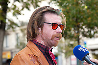 November 13 2017, PARIS FRANCE<br /> the President of France Emmanuel Macron<br /> honors the victims of the 13 november 2015<br /> in the scenes of attacks. Jesse Hughes speaks to a journalist. # HOMMAGE AUX VICTIMES DES ATTENTATS DU 13 NOVEMBRE 2015