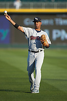Scranton/Wilkes-Barre RailRiders shortstop Abiatal Avelino (19) warms up in the outfield prior to the game against the Charlotte Knights at BB&T BallPark on April 12, 2018 in Charlotte, North Carolina.  The RailRiders defeated the Knights 11-1.  (Brian Westerholt/Four Seam Images)
