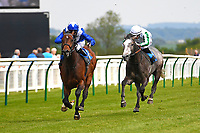 Winner of The Penang Turf Club Malaysia Novice Stakes Humanitarian (blue) ridden by Rober Havlin and trained by John Gosden during Afternoon Racing at Salisbury Racecourse on 16th May 2019