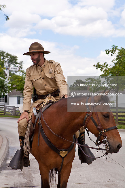 A man dressed as a soldier is seen on a horse in Dearborn' Greenfield Village in Dearborn, near Detroit (Mi) Saturday June 8, 2013. Founded by Henry Ford, the Henry Ford Museum and Greenfield Village (more formally as the Edison Institute) preserves items of historical significance.