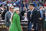Reno Aces owner Herb Simon, Reno Mayor Hillary Schieve and Gov. Brian Sandoval talk before a ceremony announcing the addition of a United Soccer League franchise in Reno, Nev., on Wednesday, Sept. 16, 2015 at the Aces Ballpark. <br /> Photo by Cathleen Allison