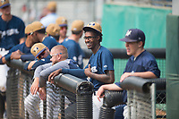 Helena Brewers designated hitter Je'Von Ward (8) during a Pioneer League game against the Grand Junction Rockies at Kindrick Legion Field on August 19, 2018 in Helena, Montana. The Grand Junction Rockies defeated the Helena Brewers by a score of 6-1. (Zachary Lucy/Four Seam Images)