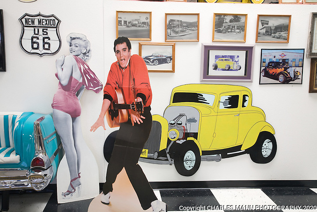 Life size cutouts of Elvis Presley and Marilyn Monroe greet visitors at the Route 66 Museum in Santa Rosa, New Mexico