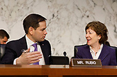 United States Senator Marco Rubio, Republican of Florida, and Senator Susan Collins, Republican of Maine, converse prior to a United States Senate Intelligence Committee hearing regarding election security on Capitol Hill in Washington, D.C. on March 21, 2018. Credit: Alex Edelman / CNP