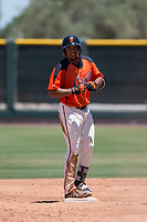 San Francisco Giants Orange left fielder Franklin Labour (49) during an Extended Spring Training game against the Seattle Mariners at the San Francisco Giants Training Complex on May 28, 2018 in Scottsdale, Arizona. (Zachary Lucy/Four Seam Images)