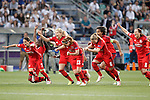 Olympique Lyonnais's Amel Majri, Griedge M'Bock Bathy, Ada Hegerberg, Camile Abily, Amandine Henry, Wendie Renard and Lotta Schelin celebrate the victory in the UEFA Women's Champions League 2015/2016 Final match.May 26,2016. (ALTERPHOTOS/Acero)