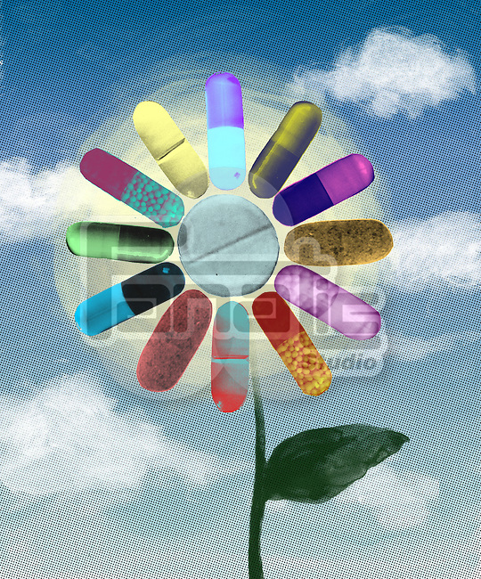 Close-up of multicolored drugs flower depicting natural medicines