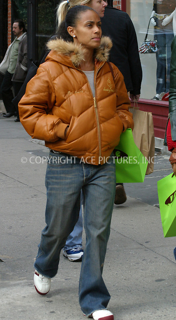Actress Jada Pinkett Smith, who is married to Will Smith, enjoyed a shopping trip in the spring sunshine in Greenwich Village, Manhattan. March 28 2004. Please byline:Brian Flannery/ACE Pictures.   ..*PAY-PER-USE*      ....IMPORTANT: Please note that our old trade name, NEW YORK PHOTO PRESS (NYPP), is replaced by our new name, ACE PICTURES. New York Photo Press and ACE Pictures are owned by All Celebrity Entertainment, Inc.......All Celebrity Entertainment, Inc:  ..contact: Alecsey Boldeskul (646) 267-6913 ..Philip Vaughan (646) 769-0430..e-mail: info@nyphotopress.com