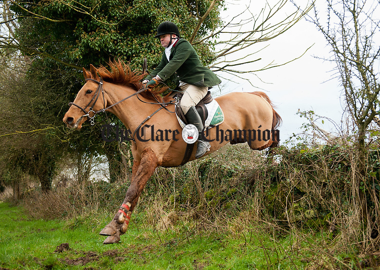 Tom Hannon in action at the East Clare farmers Hunt in Doonass, Clonlara. Photograph by John Kelly.