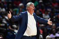 Washington, DC - July 13, 2019: Las Vegas Aces head coach Bill Laimbeer is not happy with a call late in the 4th quarter of  game between the Las Vegas Aces and Washington Mystics at the Entertainment & Sports Arena in Washington, DC. The Aces defeated the Mystics 81-85. (Photo by Phil Peters/Media Images International)