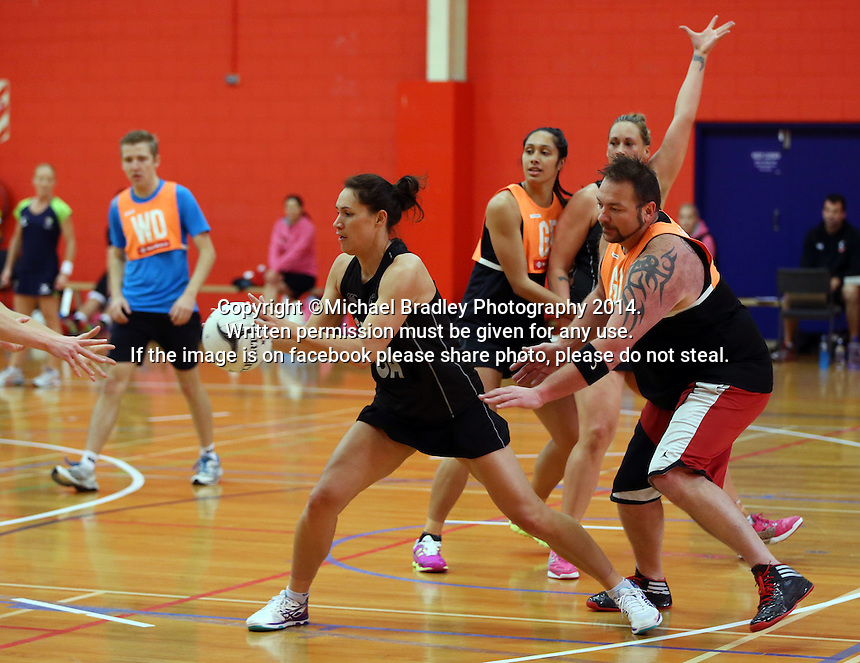 30.10.2014 Silver Ferns Jodi Brown in action during training ahead of the second test match in Palmerston North. Mandatory Photo Credit ©Michael Bradley.
