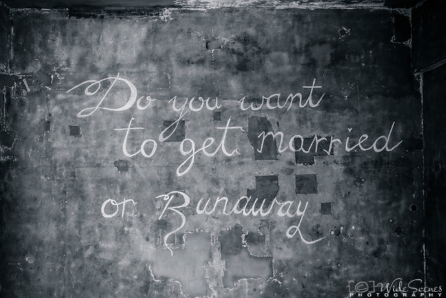 """Do you want to get married or runaway"" written on a wall near Hornby Lighthouse, Watsons Bay, NSW, Australia"