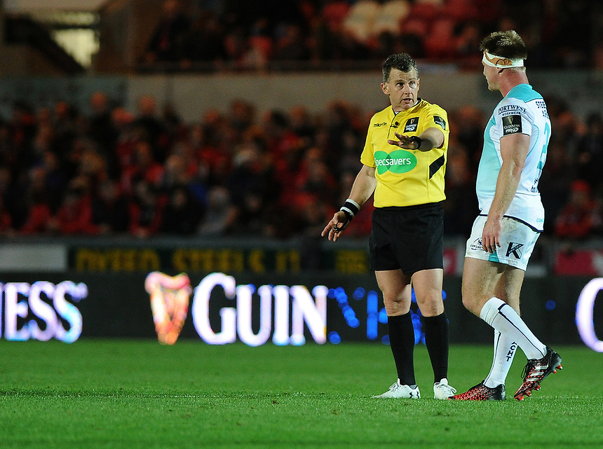 Referee Nigel Owens speaks to Connacht's Conor Carey<br /> <br /> Photographer Ashley Crowden/CameraSport<br /> <br /> Guinness Pro14  Round 5 - Scarlets v Connacht Rugby - Friday 29th September 2017 - Parc y Scarlets - Llanelli<br /> <br /> World Copyright &copy; 2017 CameraSport. All rights reserved. 43 Linden Ave. Countesthorpe. Leicester. England. LE8 5PG - Tel: +44 (0) 116 277 4147 - admin@camerasport.com - www.camerasport.com