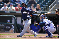 New Orleans Zephyrs Tomas Telis (18) swings during the game against the Iowa Cubs at Principal Park on April 14, 2016 in Des Moines, Iowa.  The Cubs won 4-2 .  (Dennis Hubbard/Four Seam Images)