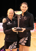 23.09.2012 Silver Ferns Laura Langan and Irene Van Dyk after the third netball test match between the Silver Ferns and the Australian Diamonds at CBS Canterbury Arena in Christchurch. Mandatory Photo Credit ©Michael Bradley.