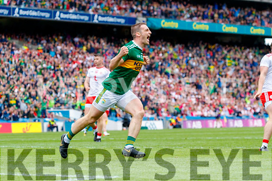 Stephen O'Brien, Kerry celebrates his goal during the All Ireland Senior Football Semi Final between Kerry and Tyrone at Croke Park, Dublin on Sunday.