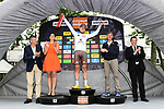 Axel Domont (FRA) AG2R wears the young riders white jersey on the podium at the end of Stage 1 of the Criterium du Dauphine 2017, running 170.5km from Saint Etienne to Saint Etienne, France. 4th June 2017. <br /> Picture: ASO/A.Broadway | Cyclefile<br /> <br /> <br /> All photos usage must carry mandatory copyright credit (&copy; Cyclefile | ASO/A.Broadway)